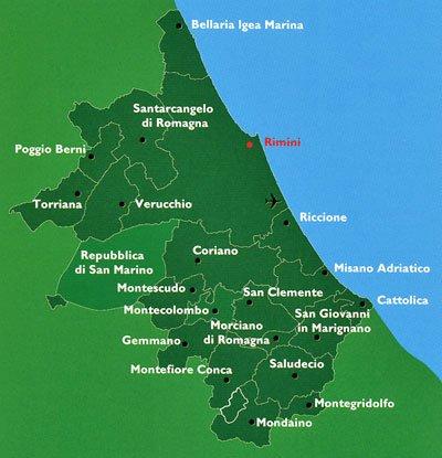 Mappa itinerari di Rimini